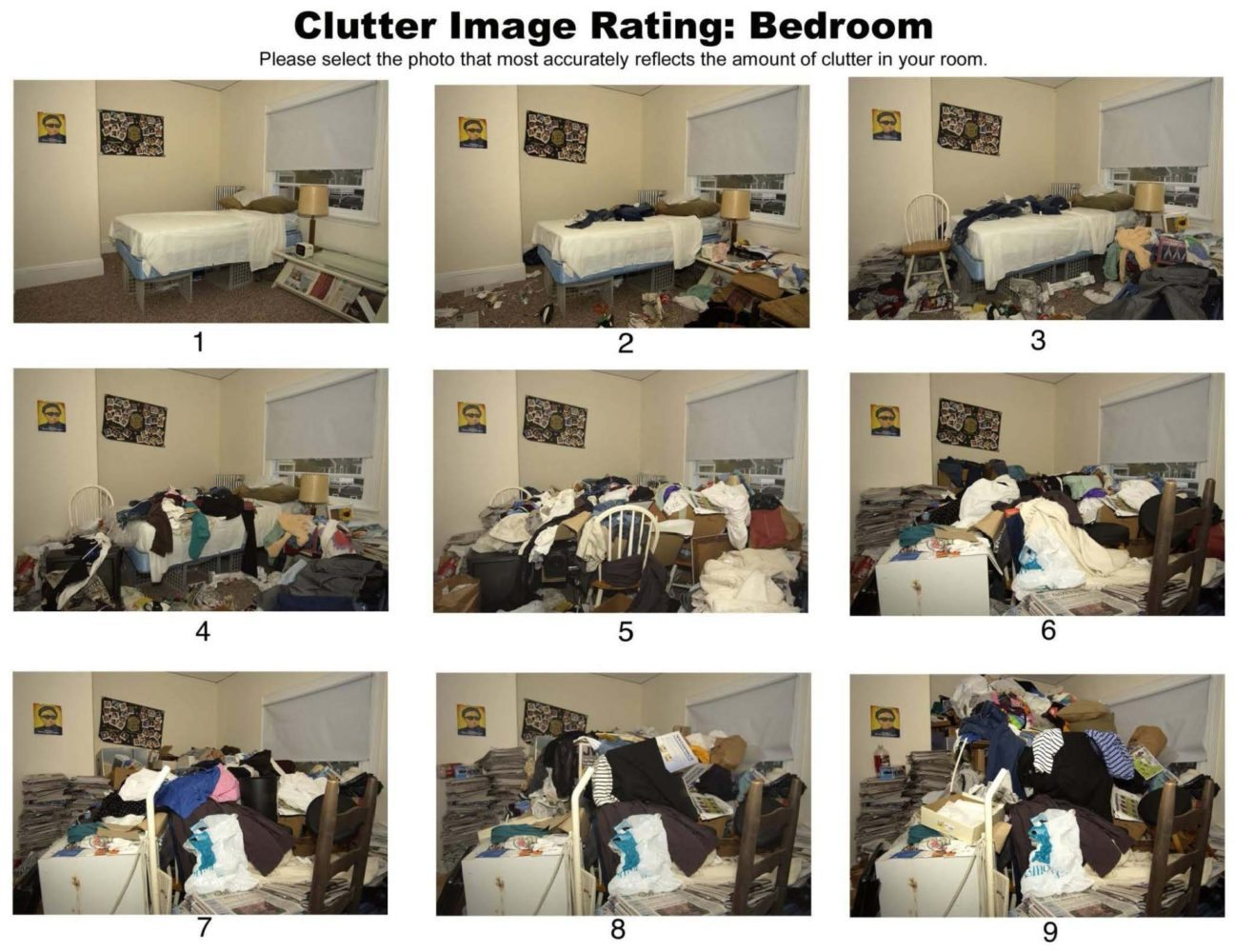Clutter Image Rating: Bedroom. Photo Courtesy of IOCDF.