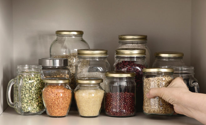 Sealed jars in a pantry