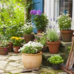 patio with flowers and flower pots