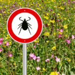 tick warning sign in field